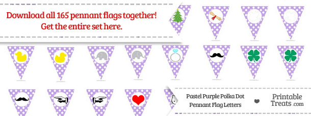 Download Pastel Purple Polka Dot Pennant Flag Letters from PrintableTreats.com
