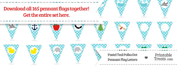 Download Pastel Teal Polka Dot Pennant Flag Letters from PrintableTreats.com