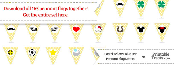 Download Pastel Yellow Polka Dot Pennant Flag Letters from PrintableTreats.com