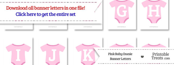Pink Baby Onesie Shaped Banner Letters Download from PrintableTreats.com