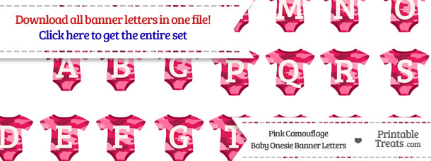 Pink Camouflage Baby Onesie Shaped Banner Letters Download from PrintableTreats.com