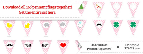 Download Pink Polka Dot Pennant Flag Letters from PrintableTreats.com