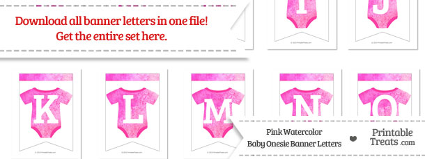 Pink Watercolor Baby Onesie Bunting Banner Letters Download from PrintableTreats.com