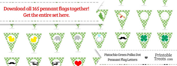 Download Pistachio Green Polka Dot Pennant Flag Letters from PrintableTreats.com