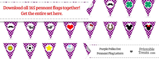 Download Purple Polka Dot Pennant Flag Letters from PrintableTreats.com