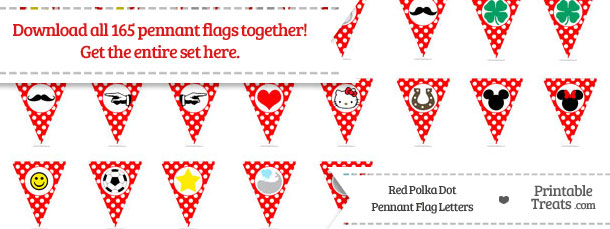 Download Red Polka Dot Pennant Flag Letters from PrintableTreats.com