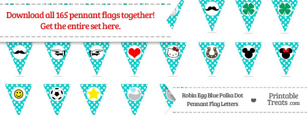 Download Robin Egg Blue Polka Dot Pennant Flag Letters from PrintableTreats.com