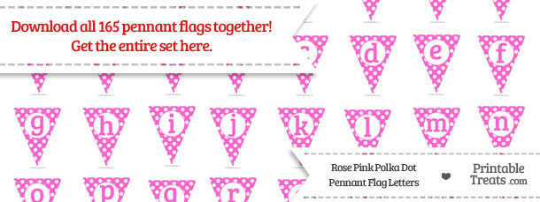 Download Rose Pink Polka Dot Pennant Flag Letters from PrintableTreats.com