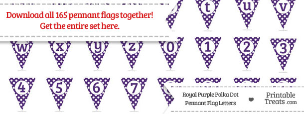 Download Royal Purple Polka Dot Pennant Flag Letters from PrintableTreats.com