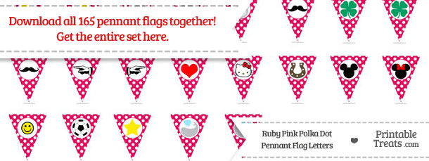 Download Hot Pink Polka Dot Pennant Flag Letters from PrintableTreats.com