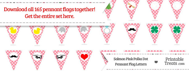 Download Salmon Pink Polka Dot Pennant Flag Letters from PrintableTreats.com