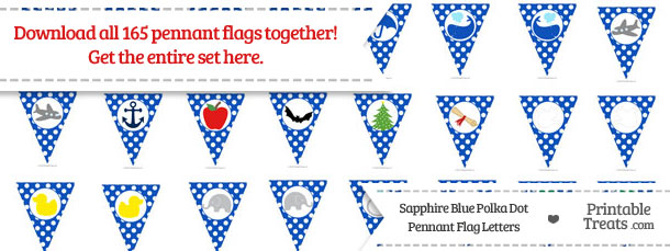Download Sapphire Blue Polka Dot Pennant Flag Letters from PrintableTreats.com