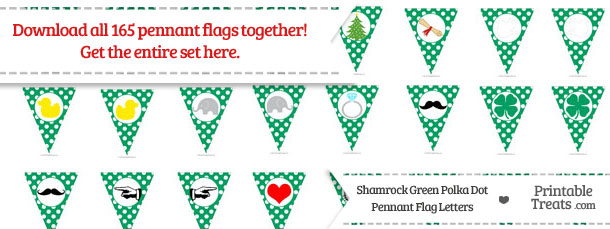 Download Shamrock Green Polka Dot Pennant Flag Letters from PrintableTreats.com