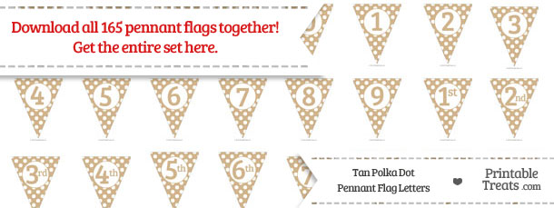 Download Tan Polka Dot Pennant Flag Letters from PrintableTreats.com