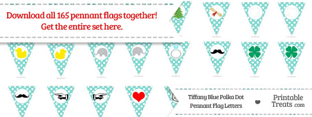Download Tiffany Blue Polka Dot Pennant Flag Letters from PrintableTreats.com