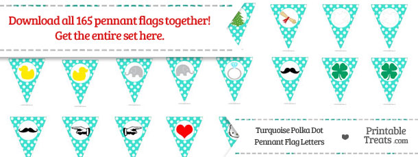 Download Turquoise Polka Dot Pennant Flag Letters from PrintableTreats.com