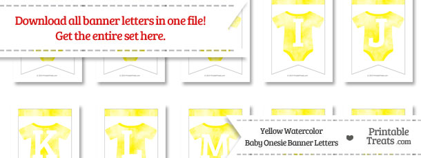 Yellow Watercolor Baby Onesie Bunting Banner Letters Download from PrintableTreats.com