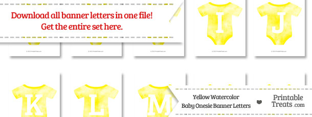 Yellow Watercolor Baby Onesie Shaped Banner Letters Download from PrintableTreats.com