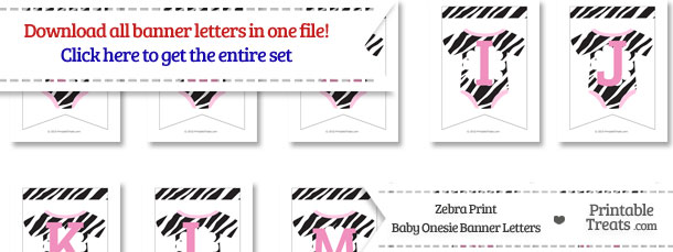 Zebra Print Baby Onesie Bunting Banner Letters Download from PrintableTreats.com