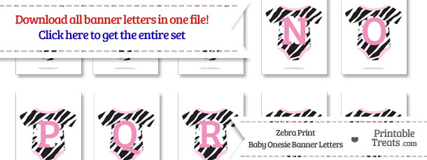 Zebra Print Baby Onesie Shaped Banner Letters Download from PrintableTreats.com