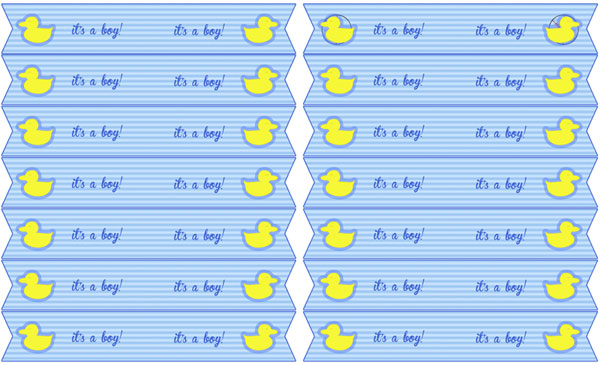 blue duck baby shower straw flags