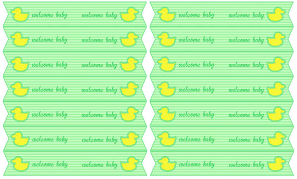green duck baby shower straw flags