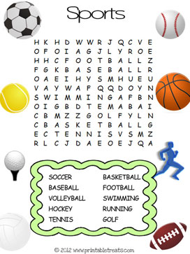 printable sports easy kids word search