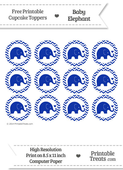 Egyptian Blue Baby Elephant Chevron Cupcake Toppers from PrintableTreats.com