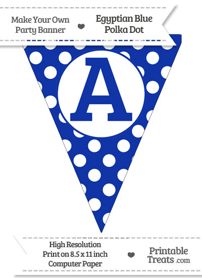 Egyptian Blue Polka Dot Pennant Flag Capital Letter A from PrintableTreats.com