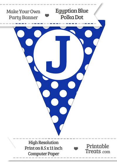 Egyptian Blue Polka Dot Pennant Flag Capital Letter J from PrintableTreats.com