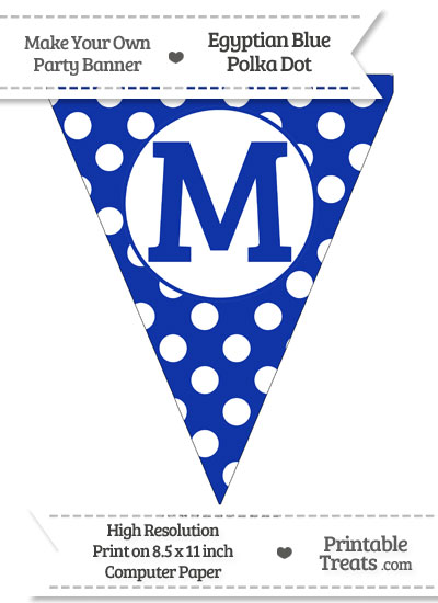 Egyptian Blue Polka Dot Pennant Flag Capital Letter M from PrintableTreats.com