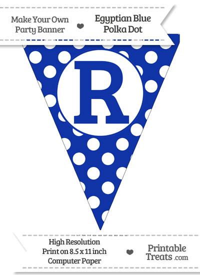Egyptian Blue Polka Dot Pennant Flag Capital Letter R from PrintableTreats.com