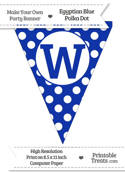 Egyptian Blue Polka Dot Pennant Flag Capital Letter W from PrintableTreats.com