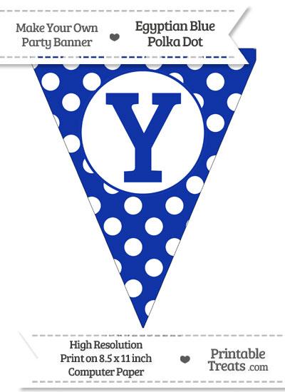 Egyptian Blue Polka Dot Pennant Flag Capital Letter Y from PrintableTreats.com