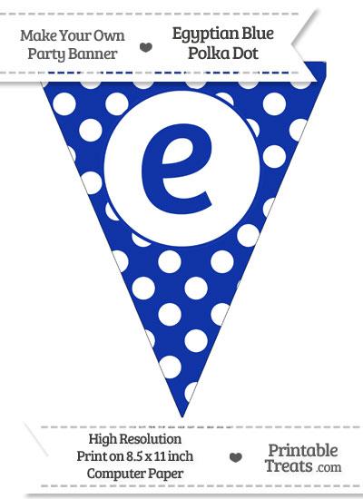Egyptian Blue Polka Dot Pennant Flag Lowercase Letter E from PrintableTreats.com