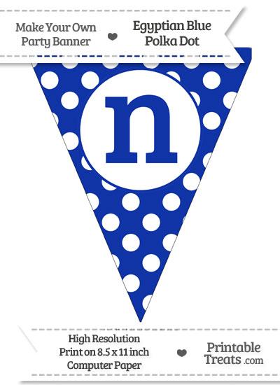 Egyptian Blue Polka Dot Pennant Flag Lowercase Letter N from PrintableTreats.com