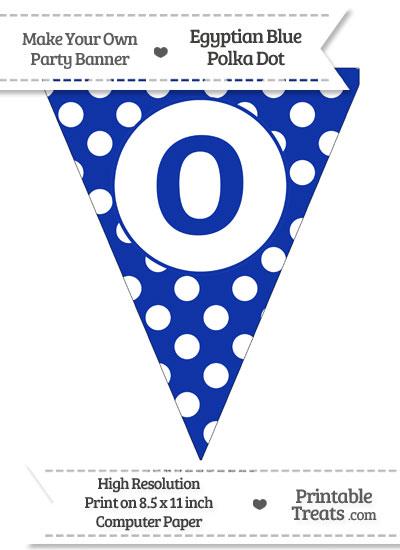 Egyptian Blue Polka Dot Pennant Flag Lowercase Letter O from PrintableTreats.com