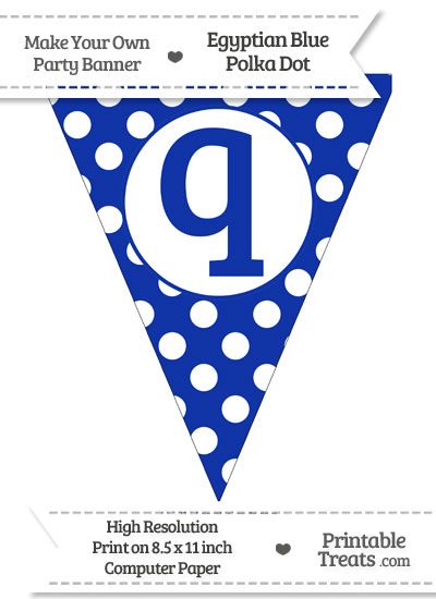 Egyptian Blue Polka Dot Pennant Flag Lowercase Letter Q from PrintableTreats.com