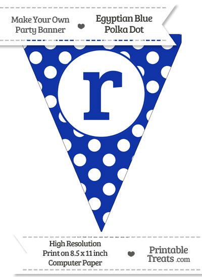Egyptian Blue Polka Dot Pennant Flag Lowercase Letter R from PrintableTreats.com