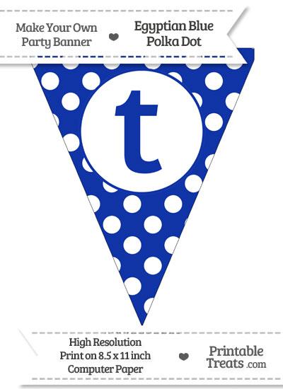 Egyptian Blue Polka Dot Pennant Flag Lowercase Letter T from PrintableTreats.com