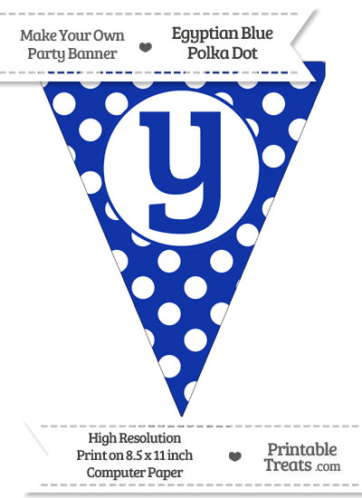 Egyptian Blue Polka Dot Pennant Flag Lowercase Letter Y from PrintableTreats.com