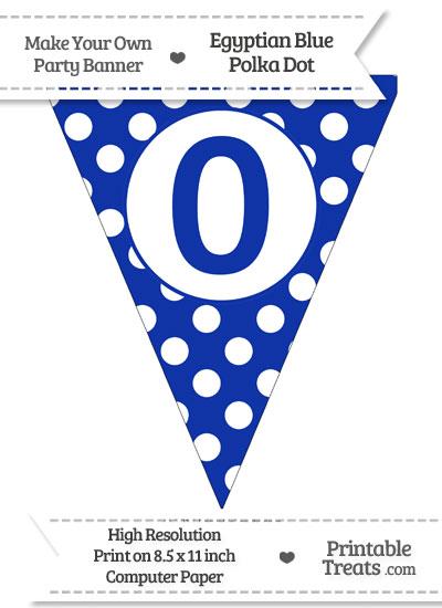 Egyptian Blue Polka Dot Pennant Flag Number 0 from PrintableTreats.com