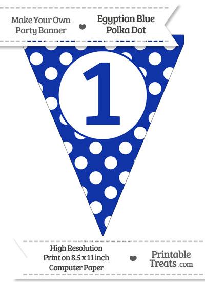 Egyptian Blue Polka Dot Pennant Flag Number 1 from PrintableTreats.com