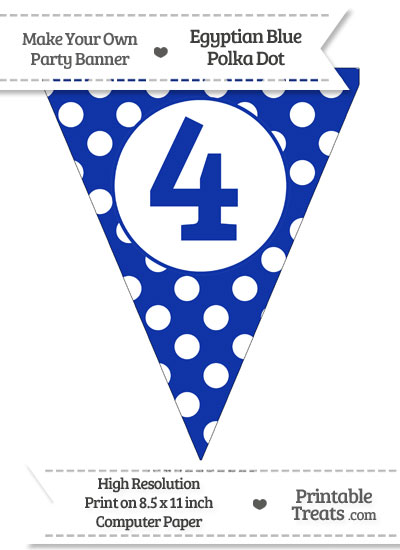 Egyptian Blue Polka Dot Pennant Flag Number 4 from PrintableTreats.com