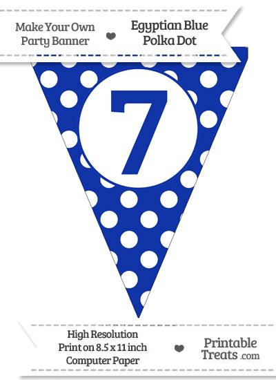 Egyptian Blue Polka Dot Pennant Flag Number 7 from PrintableTreats.com