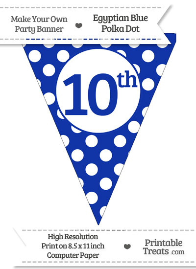 Egyptian Blue Polka Dot Pennant Flag Ordinal Number 10th from PrintableTreats.com