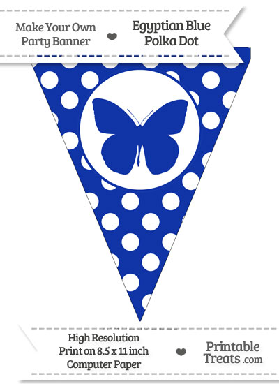 Egyptian Blue Polka Dot Pennant Flag with Butterfly from PrintableTreats.com