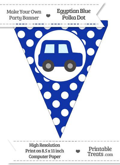 Egyptian Blue Polka Dot Pennant Flag with Car Facing Right from PrintableTreats.com
