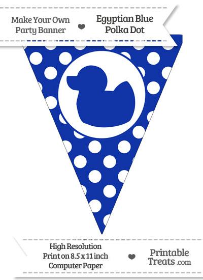 Egyptian Blue Polka Dot Pennant Flag with Duck Facing Left from PrintableTreats.com