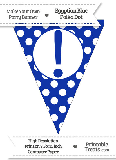 Egyptian Blue Polka Dot Pennant Flag with Exclamation Mark from PrintableTreats.com